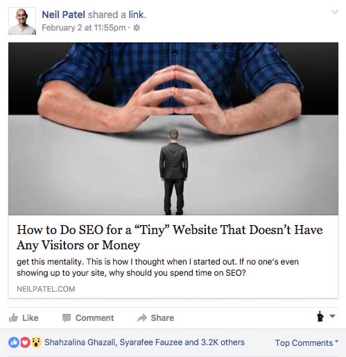 Post Neil Patel di Facebook