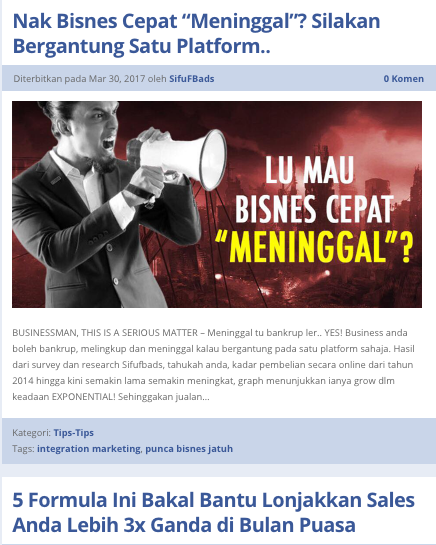 Contoh content marketing dari SifuFBAds
