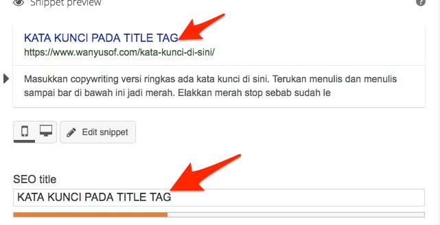 title tag on yoast