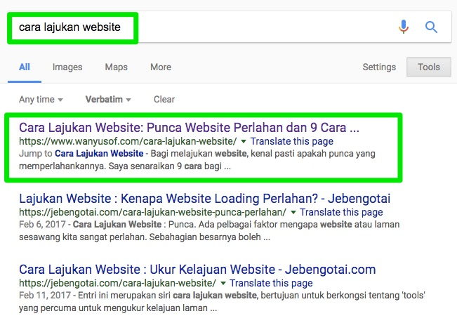 serp cara lajukan website