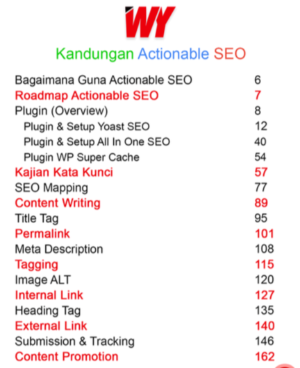 kandungan ebook actionable seo