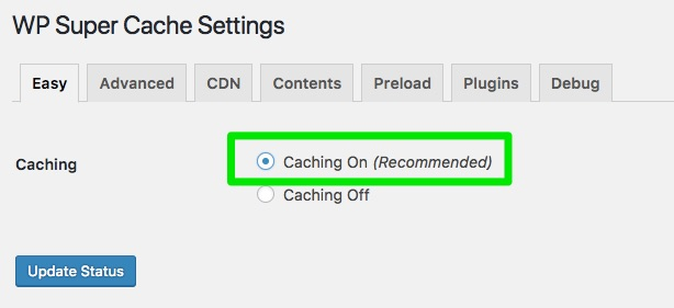 caching on wp super cache