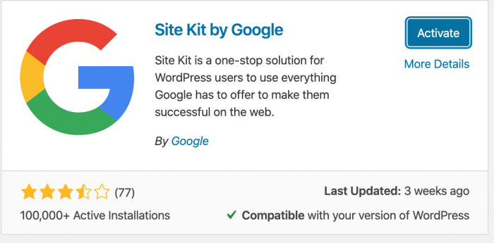 activate google site kit