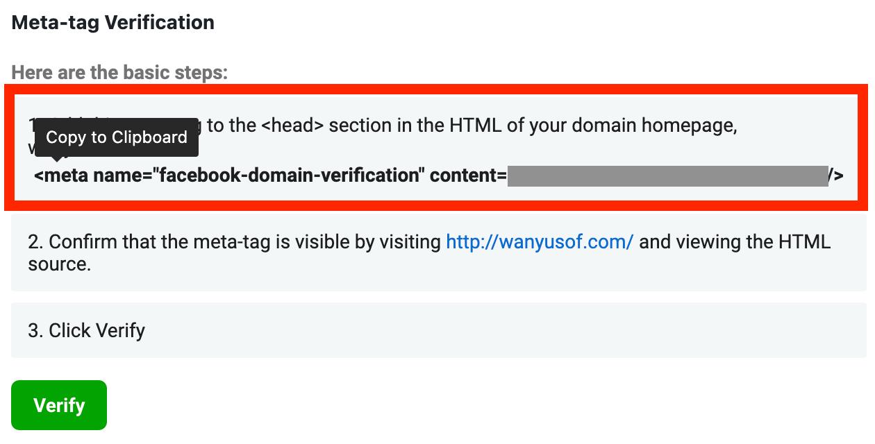 copy meta verification